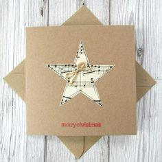 Set of 5 sheet music Christmas cards - Set of 5 musical notes Christmas cards Etsy - Christmas Tree Cutting, Simple Christmas Cards, Homemade Christmas Cards, Christmas Cards To Make, Xmas Cards, Handmade Christmas, Christmas Crafts, Cards Diy, Christmas Music