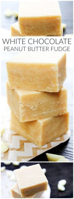 White Chocolate Peanut Butter Fudge LONG PIN More (holiday baking ideas christmas peanut butter) Chocolate Peanut Butter Fudge, Peanut Butter Recipes, Fudge Recipes, Candy Recipes, Chocolate Recipes, Sweet Recipes, Baking Recipes, Dessert Recipes, Chocolate Smoothies