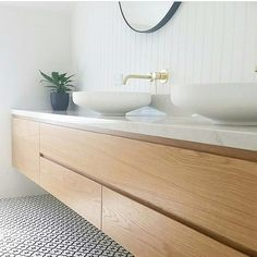 Floating minimalist timber vanity with white basin and gold tap. Bathroom Niche, Bathroom Red, Bathroom Shelves, Bathroom Flooring, Bathroom Faucets, Bathroom Furniture, Modern Bathroom, Small Bathroom, Bathroom Ideas