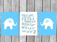 Baby boy nursery art - cute with navy blue.