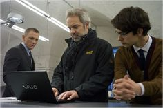 Ben Whishaw, Daniel Craig, Sam Mendes on the set of Skyfall