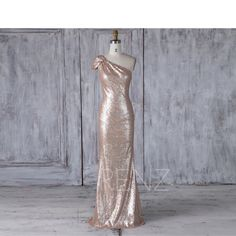 2017 Tan Sequin Bridesmaid Dress Slim, Cap Sleeves One Shoulder Wedding Dress, Long Formal Dress, Luxury Prom Dress Floor Length (JQ221)