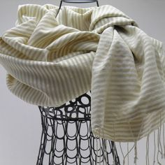 Fair Trade Luxurious Shawl spun and handwoven. 50% lotus fiber and 50% natural ivory silk. Samatoa brand, Shop online in Canada.