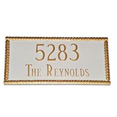 Montague Metal Products Harrison Rectangle Address Plaque Finish: Navy / Gold, Mounting: Lawn