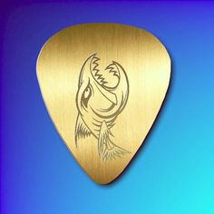 Polished Brass Guitar Pick - The Pirhana