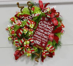 Grinch Wreath, Christmas Grinch Wreath, Grinch Christmas Wreath, Grinch Theme Christmas Deco Mesh Wreath by MaDoorableCreations on Etsy