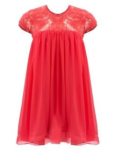 Koko Coral Floral Lace Babydoll Tunic Dress. I want this dress more than I want to breathe right now.