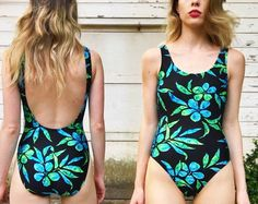 Vintage Black Blue Green Ribbed Low Back One by vernasvintageATL Vintage One Piece Swimsuits, Low Back, Vintage Black, Blue Green, Swimwear, Shopping, Beautiful, Etsy, Fashion