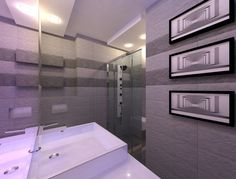 Projekt małej łazienki w bloku. A design of a small bathroom in a block of flats. Small Bathroom, Alcove, Bathroom Lighting, Bathtub, Flats, Mirror, Furniture, Design, Home Decor