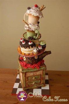Tea party cake by Nina Maltese Crazy Cakes, Fancy Cakes, Cute Cakes, Pretty Cakes, Cake Wrecks, Unique Cakes, Creative Cakes, Gorgeous Cakes, Amazing Cakes