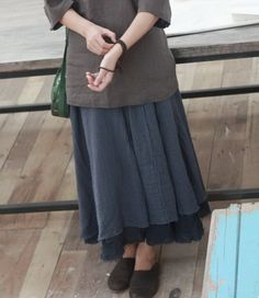 Dual Layer Rough Lining Linen Skirt - love the layers