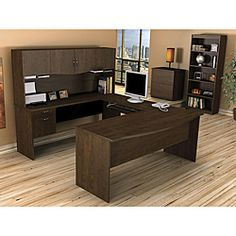 @Overstock - With a commercial 1-inch melamine work surface that resists scratches, stains and burns, the Harmony workstation will look great in any decor. This desk, functional and strong, is perfect for your home office space.http://www.overstock.com/Office-Supplies/Bestar-Harmony-U-shaped-Workstation/5677881/product.html?CID=214117 $599.99