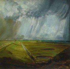 Landscape - Marius Richters, Dutch, 1878-1955.   Oil on canvas on panel, 45 x 45 cm.