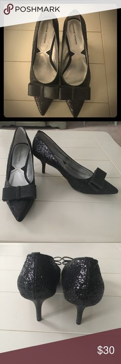 "Black sparkle heels Kate Spade-ish! Black glitter 3"" heels - amazing for the holidays! Worn once at a friends wedding shower. Size 9 - excellent condition. Moving- make me an offer! Adrienne Vittadini Shoes Heels"