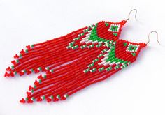 Native American Beaded Earrings Inspired. White Green Red Earrings. Long Dangle Earrings. Beadwork.