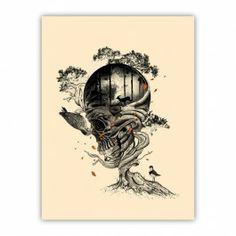 Lost Translation Art Print By Nicebleed - Skull Tree Tattoo Kunst Tattoos, Skull Tattoos, Fox Tattoos, Deer Tattoo, Raven Tattoo, Tattoo Ink, Arm Tattoo, Sleeve Tattoos, Tatoo Tree