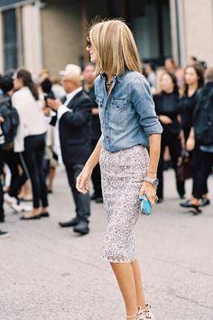 denim shirt and a sequin skirt #flatterboutique #modestfashion