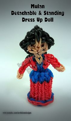 Rainbow Loom Princess Mulan Charm/Action Figure - Detachable Skirt and Stand Alone Dress Up Doll tutorial by Izzalicious Designs