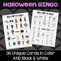 This Halloween bingo game features 36 unique bingo cards that you can print in color or black and white. The black and white game boards also make great coloring pages before you play BINGO. Each card features a FREE space and 24 Halloween pictures. Teacher calling cards are also included.