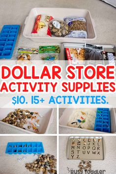 Dollar Store Activity Supplies You Need to Buy - Busy Toddler Dollar Store Activity Supplies Kids Activities At Home, Quiet Time Activities, Toddler Learning Activities, Infant Activities, Sorting Activities, Activities For Preschoolers, Special Education Activities, Toddler Play, Toddler Preschool