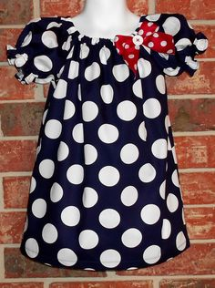 Deep Navy Blue with Bold White Dots Peasant Dress. $22.00, via Etsy.