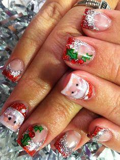 Christmas Holiday Santa Holly #nails #nailart