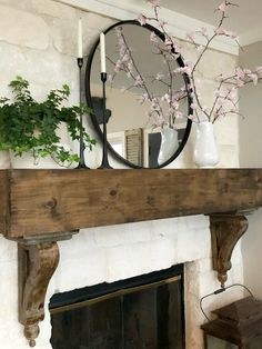 How To Make Faux Spring Cherry Blossom Branches * Hip & Humble Style # fireplace mantle, Decor, Farmhouse Decor, Fireplace Mantle Decor, Farmhouse Fireplace, Rustic Mantle, Cherry Blossom Branch, Fireplace, Home Fireplace, Fireplace Design