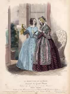 1843 fashion plate with a lady showing off her new bonnet.