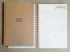 12 months, Jan-Dec 2017. A simple, elegant 12-month planner thoughtfully made with quality papers. Each book comes with 12 repositionable brass page markers. Interior pages are 70lb text to avoid blee