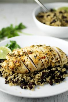Baked Cilantro Lime Chicken and Black Bean Quinoa for an easy and healthy dinner!