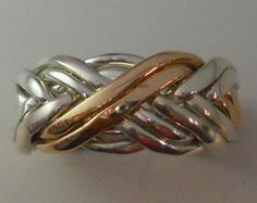 Ladies Style 8WB 8-Band Puzzle Ring with 2 Bands in Gold and 6 Bands Sterling Silver