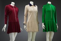These three pullover mini jersey dresses in the V&A collection really do display the London look of the swinging sixties. Mary Quant dresses were both practical and affordable and helped democratize fashion for women. 1960s Fashion, Modern Fashion, Fashion Models, Vintage Fashion, Fashion Design, Fashion Trends, What Is Garment, Mary Quant Dress, London Look