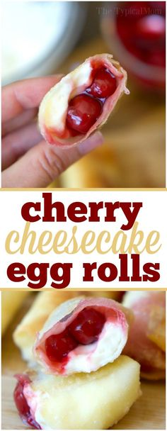 Cherry cheesecake egg rolls are amazing!! Just 3 ingredients in this warm dessert egg roll recipe. SO easy and the easiest cheesecake recipe ever. via @thetypicalmom
