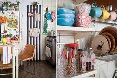 Deco: una casa taller  Empapeló una de las paredes con un rollo rayado y le dio vida con kokedamas y latas vintage con suculentas  (Cía. Botánica, desde $100)