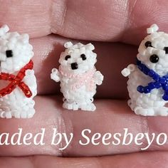 Mini 3d Polar Bear Red scarf Hand Beaded | Etsy Bead Animals, Red Scarves, Polar Bear, Different Colors, 3d, Beads, Mini, Pattern, Etsy