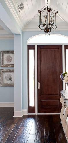 House of Turquoise: Foyer House Of Turquoise, Turquoise Walls, Light Turquoise, Coastal Living, Coastal Decor, Modern Coastal, Coastal Entryway, Coastal Colors, Coastal Bedding