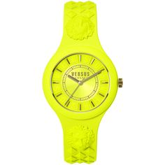 Ladies Versus by Versace Yellow Fire Island Watch ($95) ❤ liked on Polyvore featuring jewelry, watches, yellow, yellow jewelry, quartz movement watches, stainless steel jewellery, studded watches and star jewelry