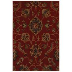 Canton Red 5 ft. 3 in. x 7 ft. 6 in. Area Rug-313371 at The Home Depot