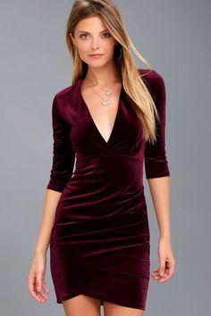 562c18e18e78 Anything For You Burgundy Velvet Bodycon Dress Winter Formal Dresses, Formal  Dresses With Sleeves,