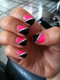 33 Amazing Nail Art Ideas with Rhinestones, Gems, Pearls and Studs by noemi