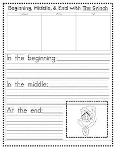Grinch writing for the beginning, middle, & end of the story.