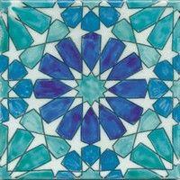 Beltile Marbella Blue Handpainted Ceramic Tile - 20 cm x 20 cm - BelTile Tile and Stone including Hexagon Tile and Subway Tile Geometric Drawing, Geometric Art, Tile Patterns, Pattern Art, Zentangle Patterns, Motifs Islamiques, Motif Arabesque, Islamic Tiles, Painting Ceramic Tiles