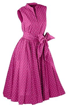 1950s pink polka dots summer party dress