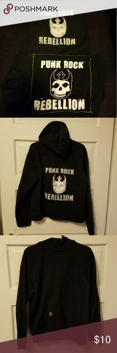 2 PUNK ROCK Rebellion hoodies 🎸🌟 You get both sweatshirts. Still in very good condition. No rips, holes or tears. Soft and warm. Both larges (12/14)...so fits more like a small in women's.  From smoke free home. MUST GO. Bundle and save more money! 💸  PUNK. ROCK.   1. One zips up in the front 2. One is a pull over jerzees Tops Sweatshirts & Hoodies