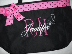 Nurse RN ,LPN Tote Bag Personalized with stethoscope  Embroidered  Great Gift Name with Large Initial  Ribbon and bow. on Etsy, $25.95