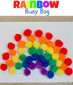 My toddler loves both rainbows and pompoms. So I combined both in this rainbow busy bag for him! Make A Rainbow Busy Bag a rainbow (print ours here or draw one) velcro dots pompoms in rainbow colors I made printed out a rainbow.