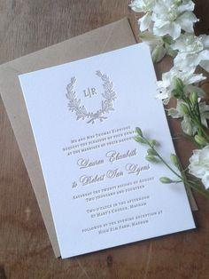 Letterpress Wedding Invitations, Rustic, Traditional, Wreath, Etienne sample