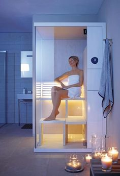 #Duravit. Small size compact sauna for medium sized bathrooms