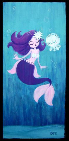 Mermaid and White Mr. Squid by ~fuish