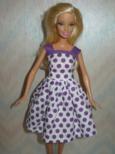 Handmade Barbie clothes  white and purple dot by TheDesigningRose, $7.00